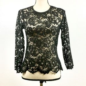 Trafaluc Lace Top w/Faux Leather Trim, Black
